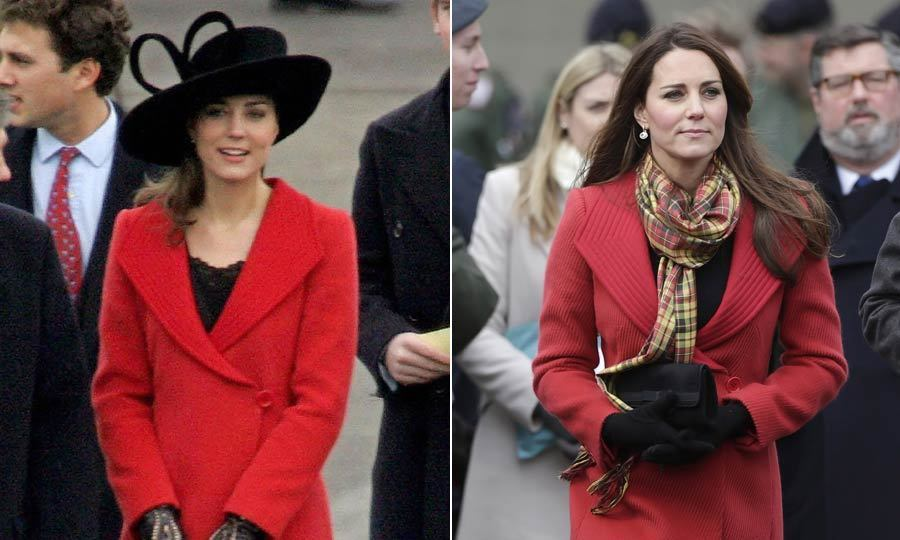 It seems this red Armani coat has stood the test of time in Kate's wardrobe. The duchess first wore it to attend Prince William's graduation from Sandhurst in 2006. Seven years later, it was keeping her warm again during a visit to Scotland.