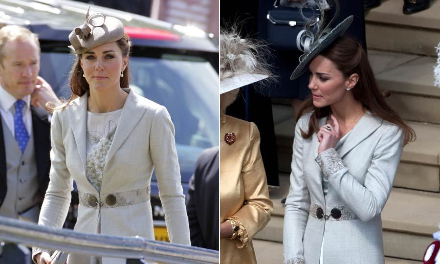 Kate has been spotted several times in this Katherine Hooker dress, once at a wedding in 2009 and paired with a different fascinator at Prince Philip's 90th Birthday celebration.