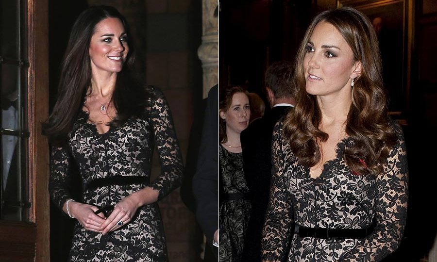 Kate looked stunning in this black lace Temperley dress, so it's no surprise she'd opt to wear it again. She first dazzled in the look on the eve of her 30th birthday, then nearly a year later to host a dinner in London.