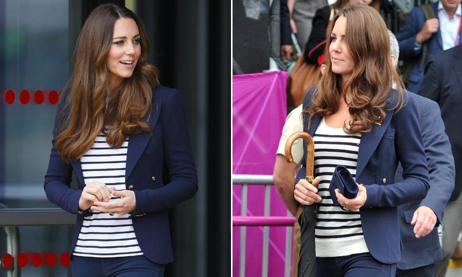 As well as wowing in stunning dresses and coats, Kate can also pull off casual-chic with the simple addition of her favorite navy blue blazer, which she likes to pair with a striped top and jeans.