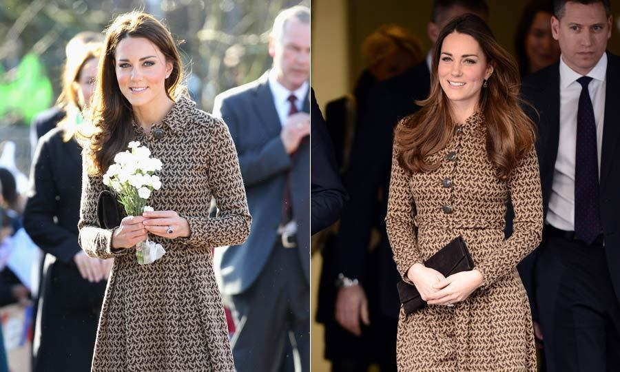 Kate chose to wear this brown Orla Kiely patterned dress to visit the Only Connect program in November 2013 and also for a visit to a school in February 2012.