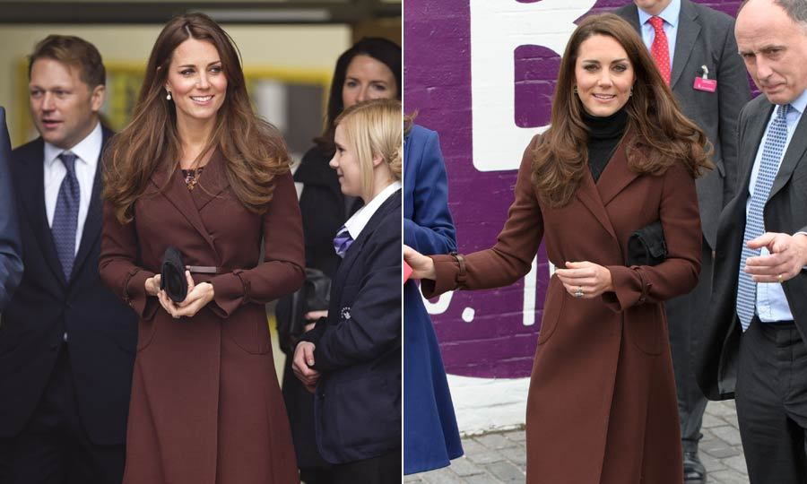 <p>Kate wore this brown Orla Kiely coat for an outing in Liverpool, having worn it before to visit a children's hospital. Throwing a dark turtleneck on under a favourite piece of outerwear is one of the Duchess' favourite simple styling tricks.