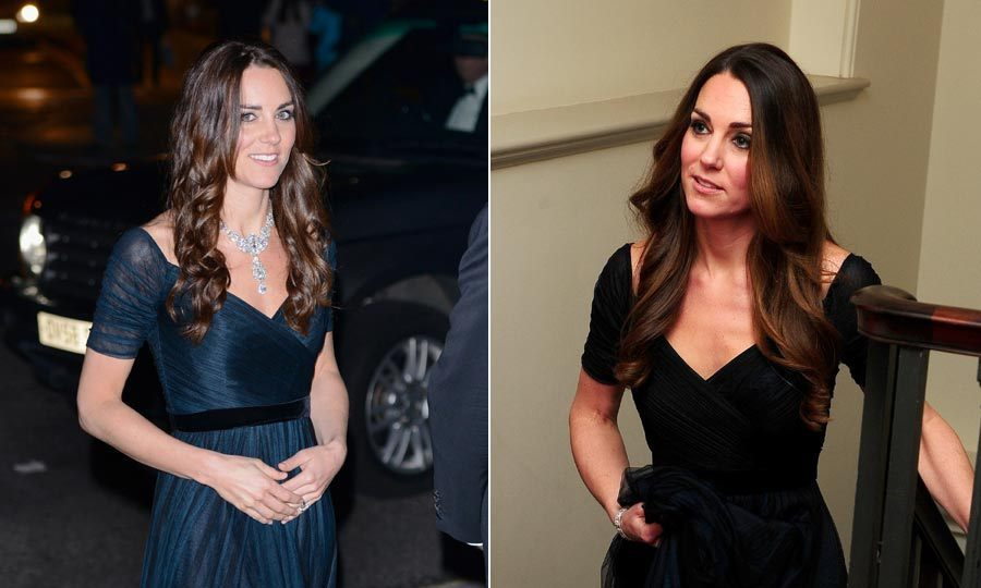 Jenny Packham is one of Kate's favorite designers. The royal has worn this beautiful ruched gown a total of 3 times now, twice in London and at a December 2014 dinner at the Metropolitan Museum of Art in New York City. It looks great both with a cascading diamond necklace and with a bare décolletage.