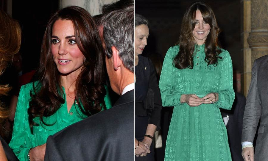 The Duchess of Cambridge looked stunning both times she wore this green Mulberry dress, the first to attend a Diamond Jubilee party and then to open the Natural History Museum's Treasures Gallery.