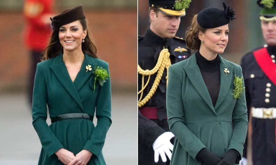 Kate wore this green Hobbs coat to attend the Aldershot Barrack's parade in 2012 and liked it so much that she donned it again to the same event the following year. The only differences? Switching up the hat and adding a turtleneck underneath.