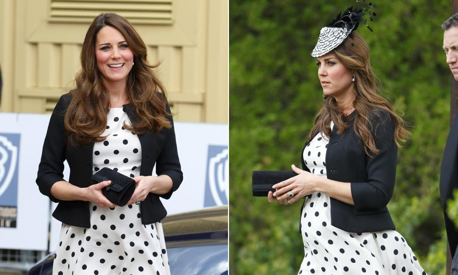 Kate proved she really is the queen of high-street fashion when she stepped out in this polka-dot Topshop dress twice during her pregnancy, adding an eye-catching fascinator to turn it into a wedding-worthy ensemble.