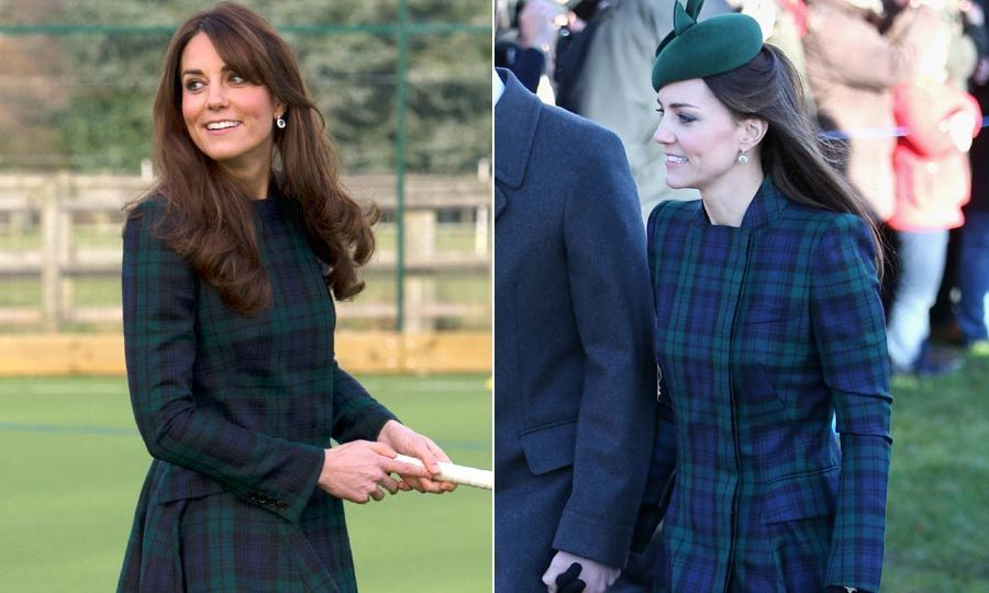 <p>With her hair partially swept up underneath a hat, right, Kate sported this Alexander McQueen green tartan coat to attend a Christmas Day service in Sandringham in 2013. When she first wore it in 2012 to re-visit her old prep school in Berkshire it felt much less conservative, exuding a fun and casual vibe.