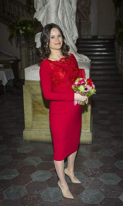 Princess Sofia showed off her growing baby bump in a gorgeous fuchsia dress while with Prince Carl Philip at a formal event in Stockholm.