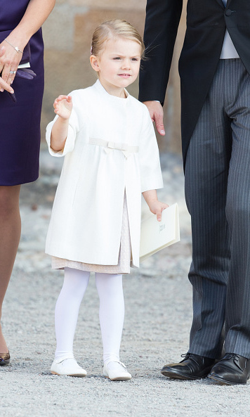 October 2015: Princess Estelle was on hand to celebrate the christening of her little cousin Prince Nicolas of Sweden at Drottningholm Palace.