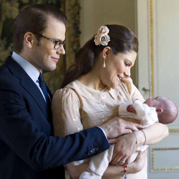 March 2012: New parents Crown Princess Victoria and Prince Daniel were totally starry-eyed over their sweet three-week old daughter. 