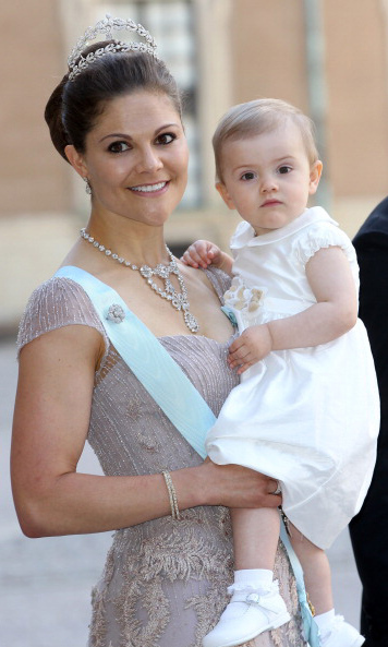 June 2013: Princess Estelle and Crown Princess Victoria were all dressed up during Princess Madeleine of Sweden and Christopher O'Neill's wedding at the Royal Palace. 