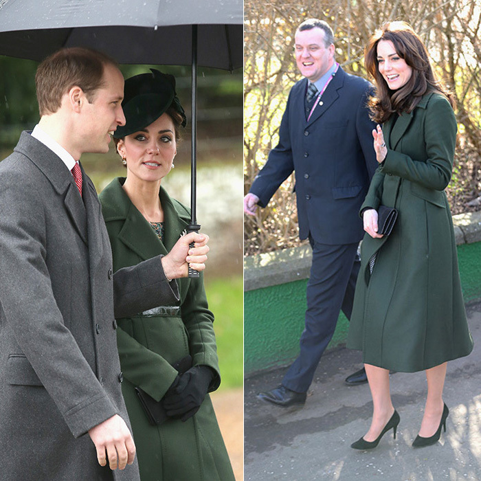 For a 2016 solo visit to Scotland, during which time she'd also be hitting the tennis courts for charity, Kate dazzled in a green Max Mara coat - a staple in her closet that she'd worn just a few months earlier during Christmas. To mix it up, the duchess bid her fascinator adieu and paired the look with her signature turtleneck.