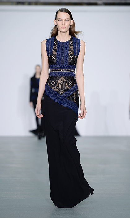 Now that her husband is prime minster, Sophie will be expected to attend even more black-tie galas. To guarantee her spot on the best-dressed list, she might consider turning to the master of high-impact design, Antonio Berardi. Here, he knocks perfectly polished glamour out of the park with this asymmetrical blue-and black-gown with lace cut-outs. 