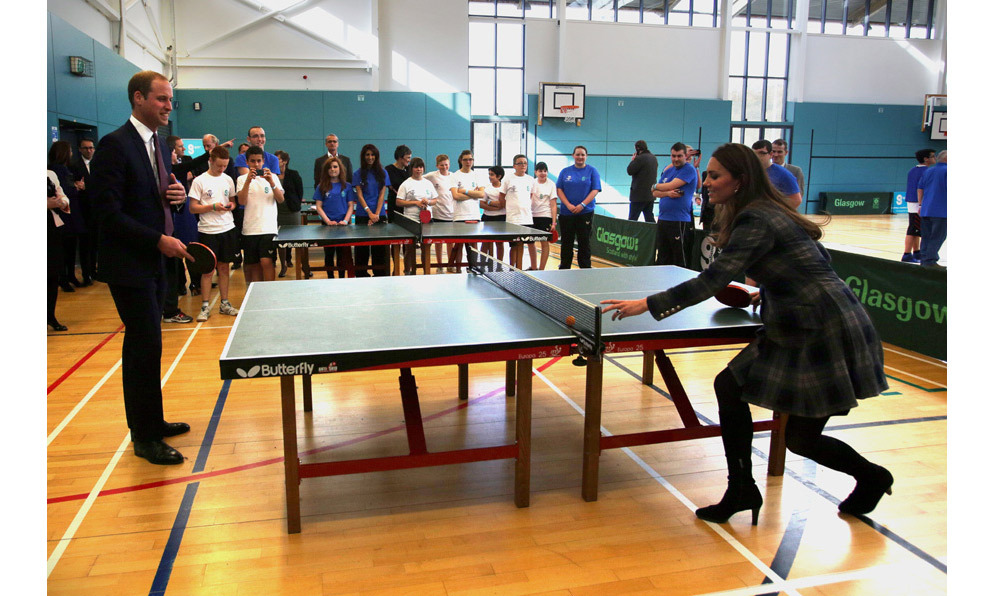 Kate played table tennis against Prince William during a visit to the Donald Dewer Leisure centre in 2013.