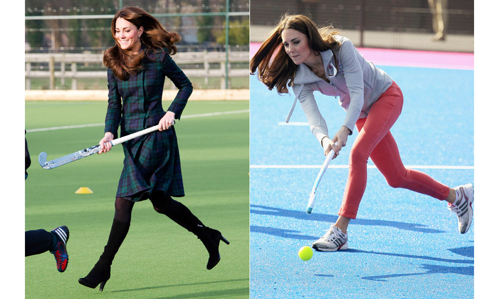 During official engagements the Duchess is not shy to practice her favourite sport.