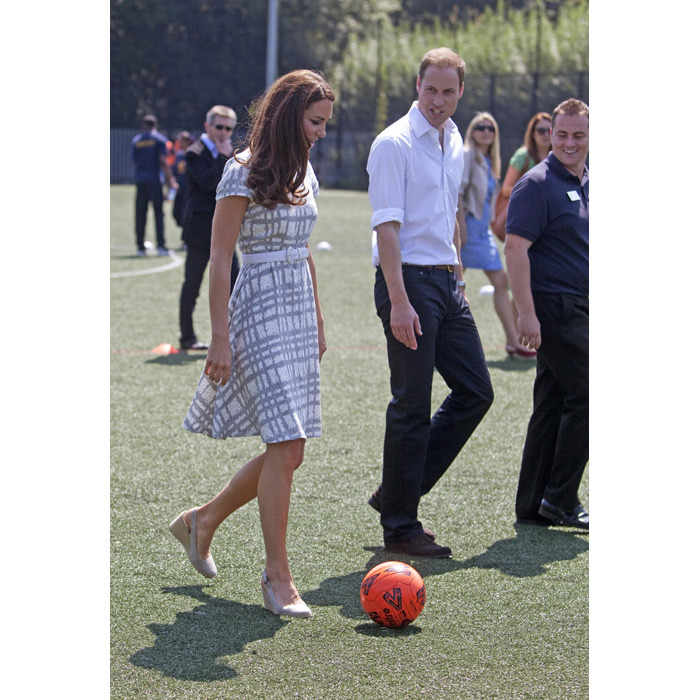 Kate has also been pictured playing football.