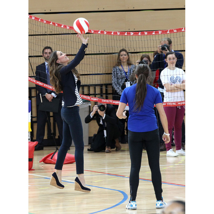 Playing volleyball just a few months after welcoming Prince George.