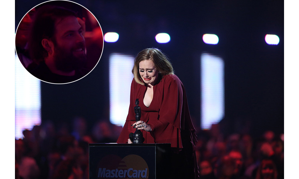<strong>Adele tearfully thanks her boyfriend and son – and gives a show of support to Kesha</strong>