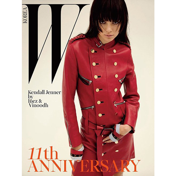Keeping Up with the Kardashian's Kendall Jenner hides behind her bangs for W Korea's 11th anniversary issue.