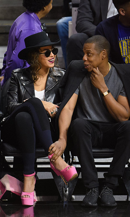 Music's power couple Jay Z and Beyonce made one fashionable pair at the LA Clippers versus Golden State Warriors game at the Staples Center on Feb. 20. 