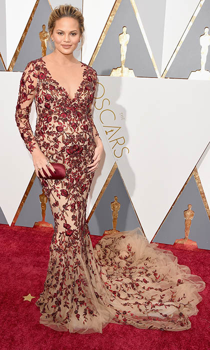 Chrissy Teigen in Marchesa.