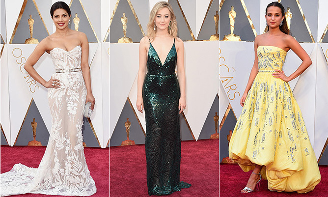 From plunging necklines to glitzy embroidery and cinched waistlines, we've rounded up the six top trends on the Oscars red carpet. Click through to find your favourite (and bookmark this gallery for wedding season inspiration!)...