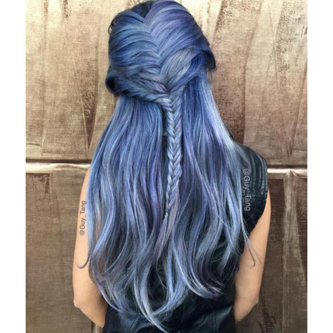"A braided style like the one <a href=""https://www.instagram.com/guy_tang/"" target=""_blank"">@guy_tang</a> created works great with this look as it highlights the different tones of blue and makes for an eye-catching style - we'll definitely be recreating this one during festival season!