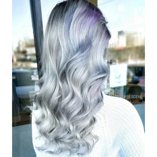 "Softer greys mixed with light blue palettes make for a subtler finish - we love the way <a href=""https://www.instagram.com/bescene/"" target=""_blank"">@bescene</a> added a touch of edge with darker blue roots!