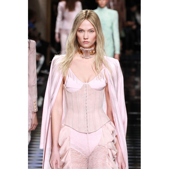 Karlie Kloss also hit the catwalk at Balmain, showing off long blonde tresses.