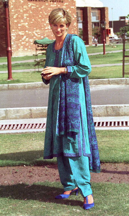 Another Indian designer we're hedging our bets on Kate wearing is Ritu Kumar. The label already has a royal connection close to Kate's heart – when Princess Diana visited Pakistan in 1997, she visited the Shaumat Memorial Hospital wearing a traditional Indian outfit by the designer.