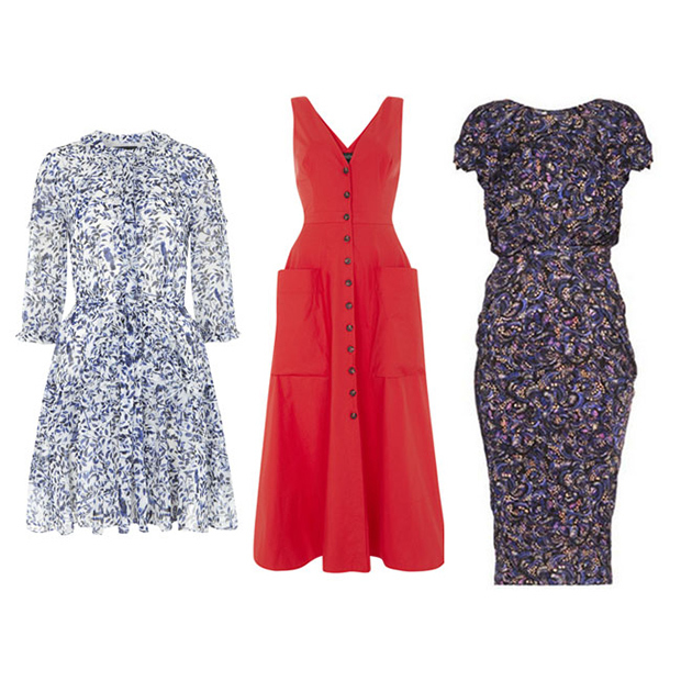 Here are three dresses from Saloni's latest collection that we can totally see Kate rocking. The first and third are silk, while the red number is cotton, so all three are suitable for the hot temperatures in India.