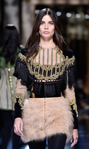 "Victoria's Secret star Sara Sampino made her Paris Fashion Week debut for one of her ""favourite brands"" during the Balmain fashion show.