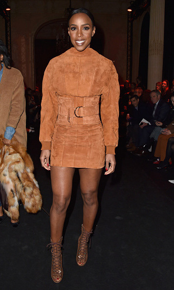 Kelly Rowland looked stunning as she attended the Balmain show in all-suede.