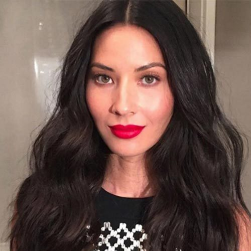 Actress Olivia Munn turned heads at a party in Hollywood, opting for a statement red lip using the Mary Jo K shade from the kit.
