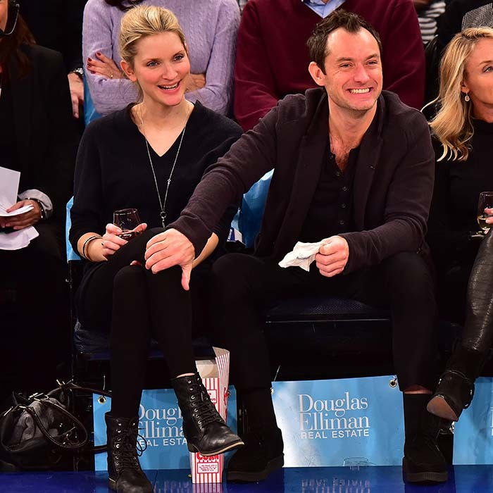 Jude Law and his new love Phillipa Coan checked out all the action at the Knicks game on Feb. 26. 