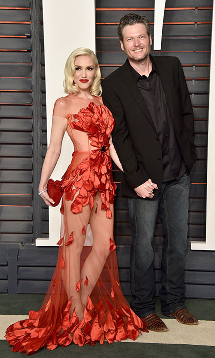 Loved-up couple Gwen Stefani and Blake Shelton attended their first big Hollywood event together as a couple, stepping out hand-in-hand at <i>Vanity Fair</i>'s epic Oscar bash. 