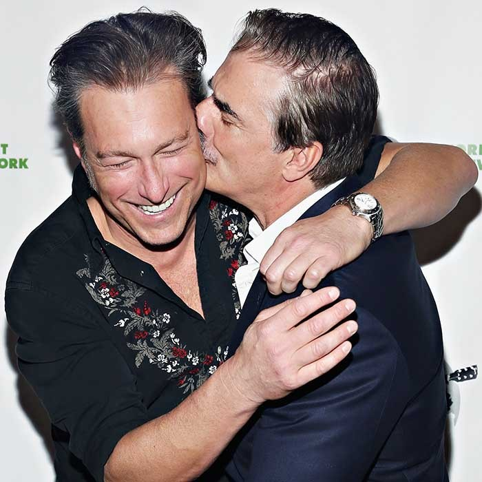 Former <i>Sex and the City</i> co-stars John Corbett and Chris Noth shared a happy reunion at the 2016 Eco Rock concert in New York.