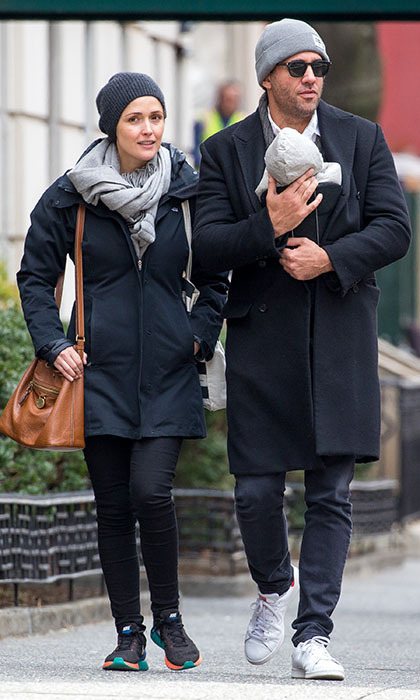 New parents Rose Byrne and Bobby Cannavale took their three-week-old son Rocco out for a stroll in New York. 