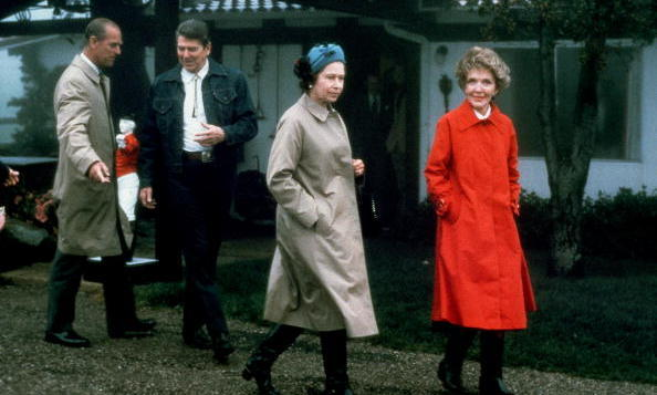 Queen Elizabeth and Prince Philip visited the President and First Lady at their Santa Barbara ranch, Rancho Del Cielo, in 1983.
