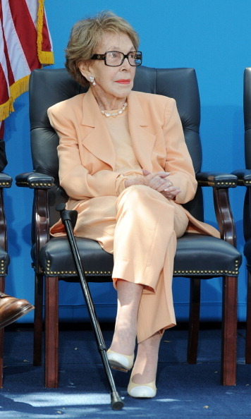 Mrs. Reagan in one of her last public appearances at the 'D23 Presents Treasures Of The Walt Disney Archives' at the Presidential Library in 2012.