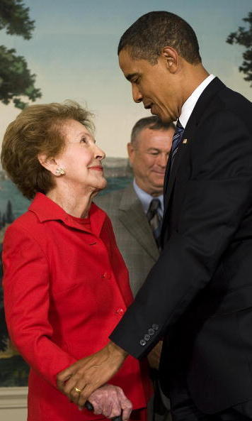 <p>When Mrs. Reagan died, condolences flooded in – including an especially moving one from President Barack Obama, pictured here in 2009 with the former First Lady.</p> 