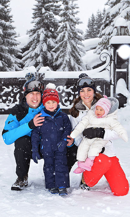 A proud Prince William posed with his adorable family during the Cambridge's first ski getaway. 