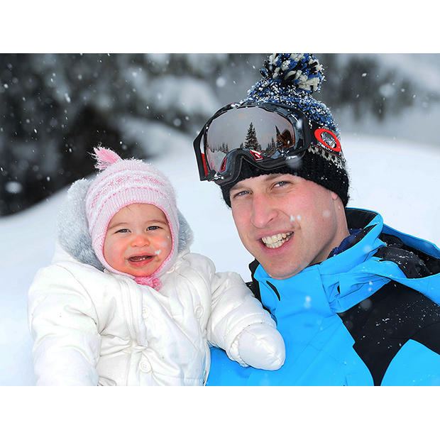 Prince William and Princess Charlotte are all smiles during their first ski trip together. 