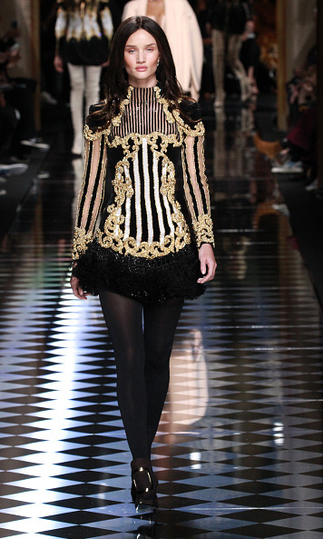 Rosie Huntington-Whiteley also swapped her blonde locks for a much darker hue for Balmain.