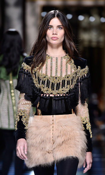 "Victoria's Secret star Sara Sampino made her Paris Fashion Week debut for one of her ""favorite brands"" during the Balmain fashion show."