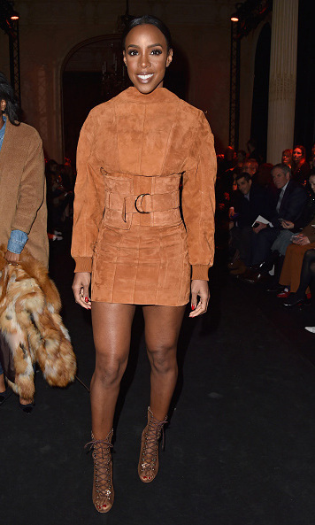 Kelly Rowland looked stunning as she attended the Balmain presentation in all-suede.