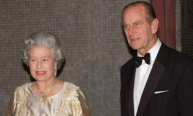 <h2>Celebrating her 50th wedding anniversary with Prince Philip at Whitehall, November 1997</h2>