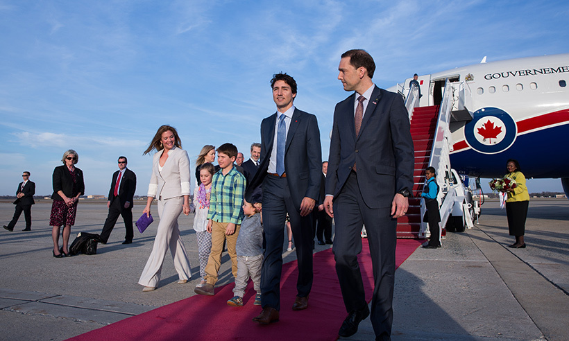 The Trudeau family arrive at Maryland's Andrew's Air Force Base on Mar. 9.  