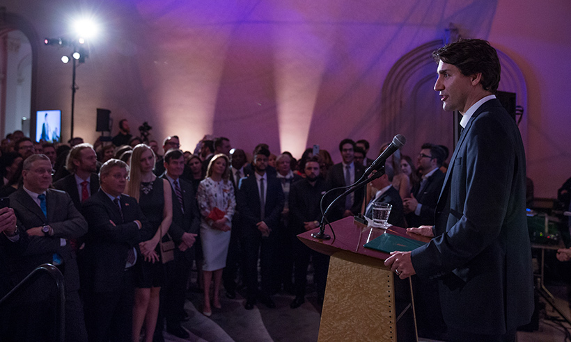 On his first night in Washington, Justin Trudeau addressed the crowd at the Canada 2020 reception.  
