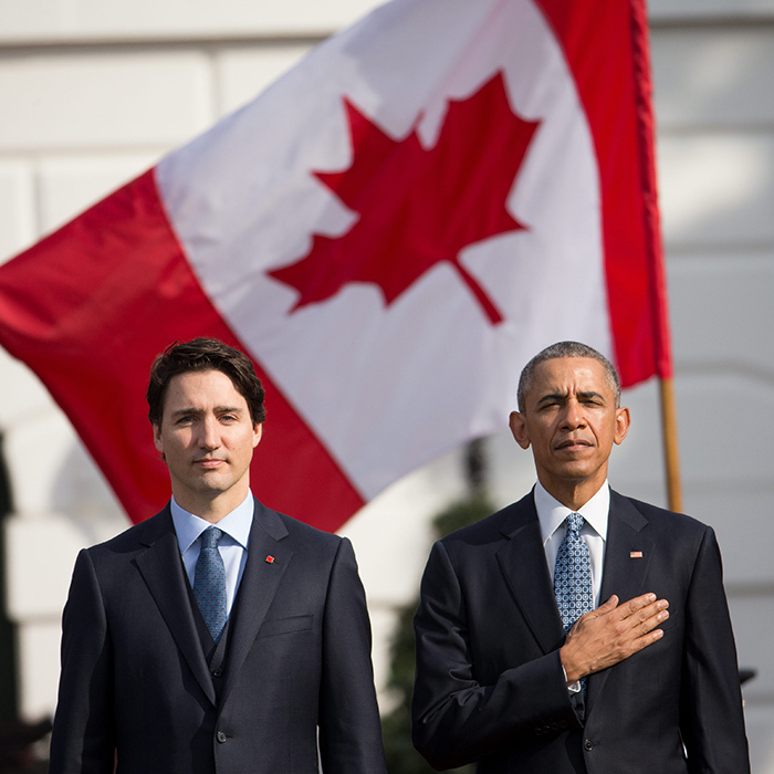 President Barack Obama and Canadian Prime Minister Justin Trudeau stand at attention for the playing of the national anthems during an arrival ceremony at the White House on Mar. 10. 